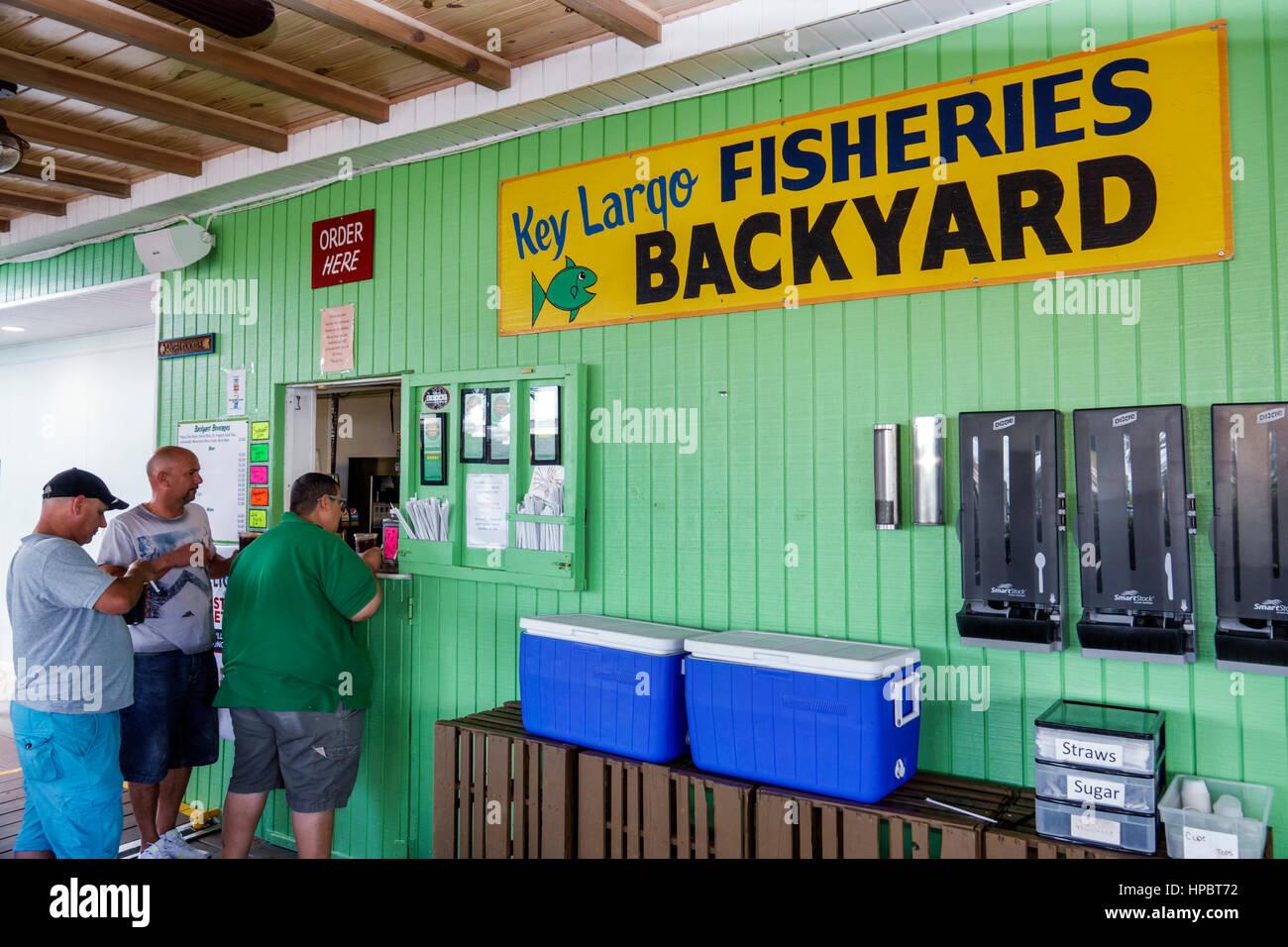 Key Largo superiore della Florida Florida Keys, Key Largo Cortile della pesca ristorante di pesce sul lungomare Immagini Stock