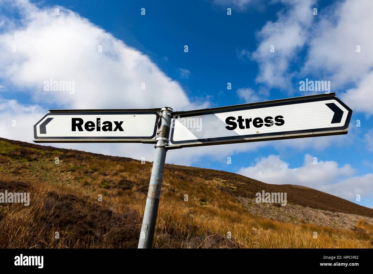 Rilassatevi stress il concetto di segno il resto recuperare dalle sollecitazioni di stress del lavoro di tutti i Immagini Stock