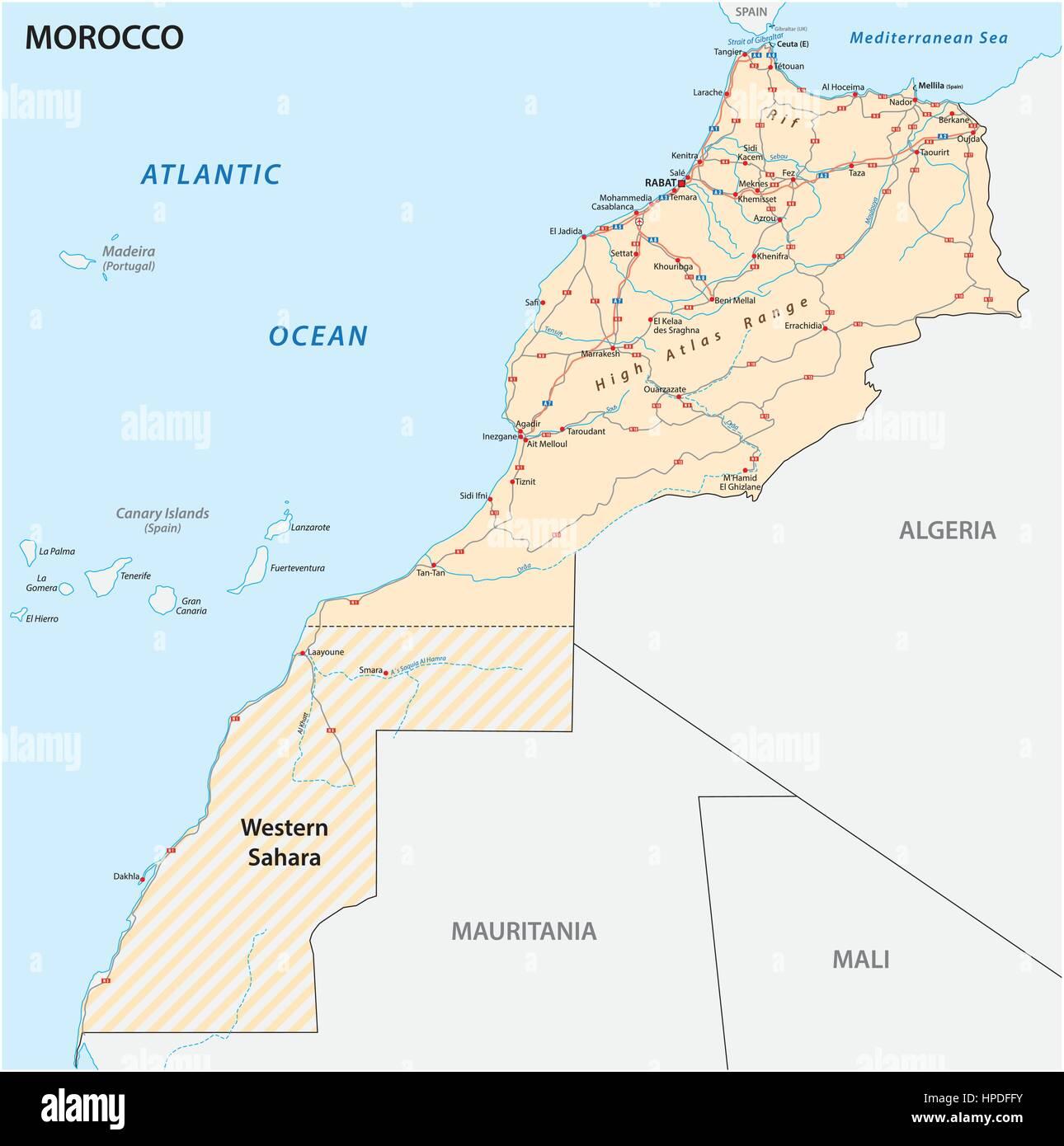 Cartina Geografica Marocco.Mappa Stradale Del Regno Del Marocco Eps Illustrazione Vettoriale