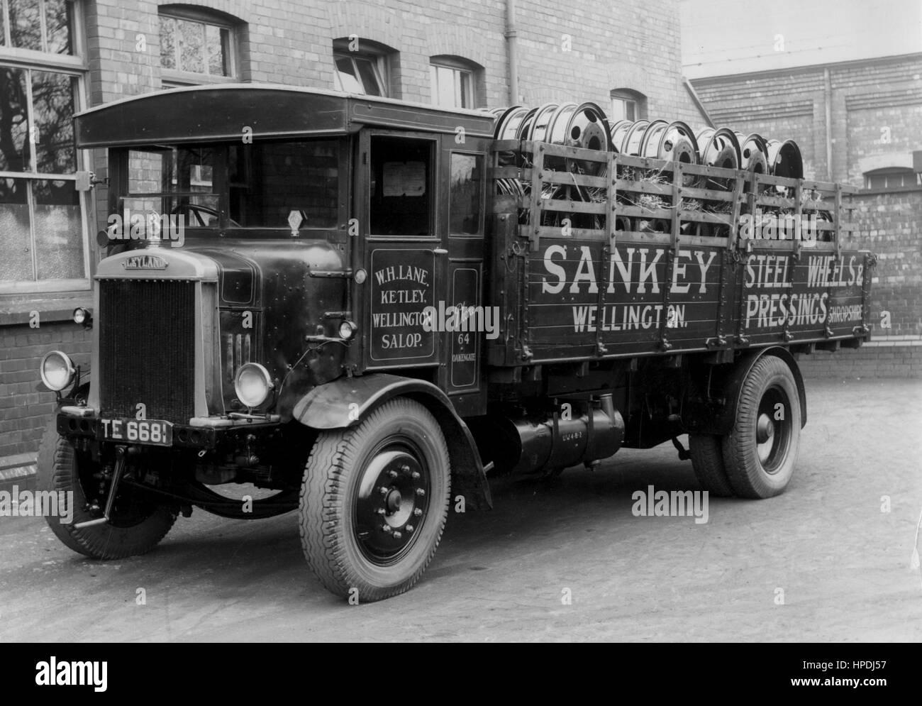 1930 Leyland 6 ton carrello Immagini Stock
