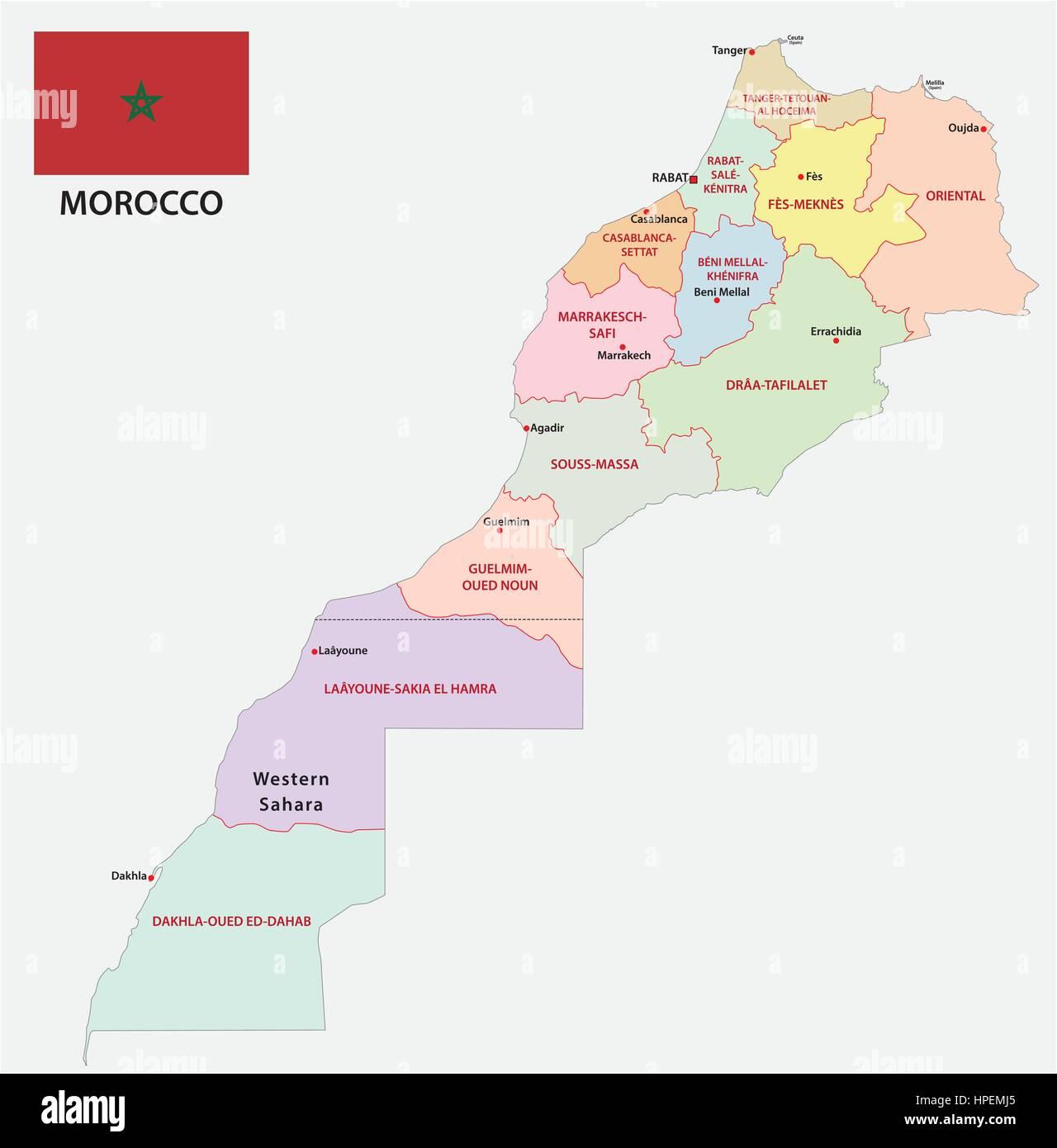 Cartina Politica Del Marocco.Nuova Politica E Amministrativa Di Mappa Di Dodici Regioni Del Regno Del Marocco Con Bandiera 2015 Immagine E Vettoriale Alamy