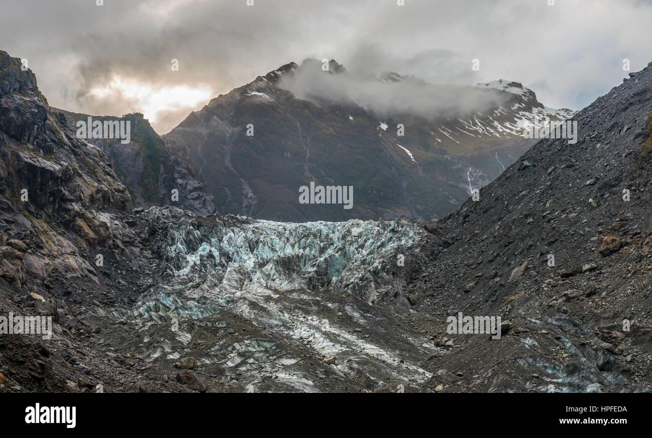 Lingua del Ghiacciaio Franz Josef Glacier, West Coast, a Southland, Nuova Zelanda Immagini Stock