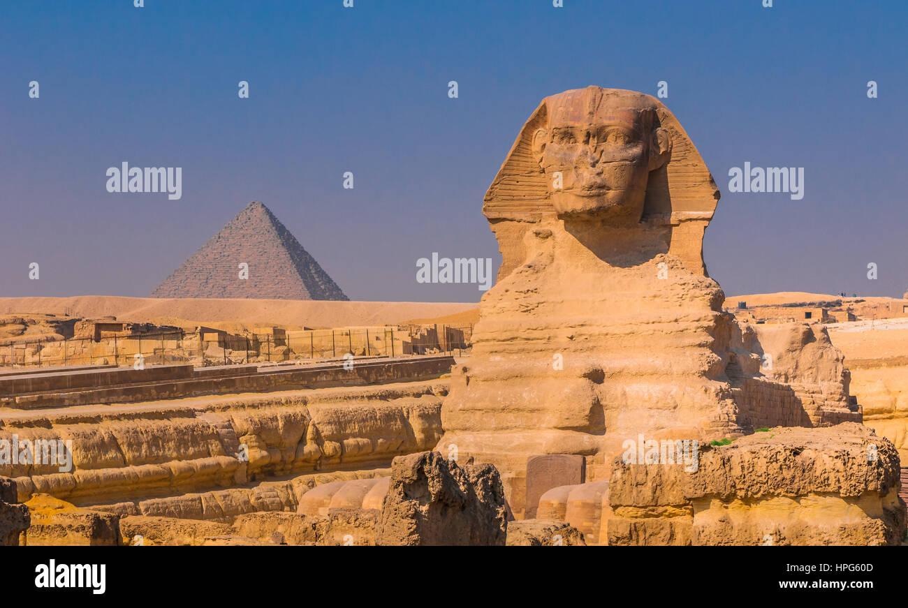 La sfinge e le piramidi di Giza, Il Cairo Immagini Stock