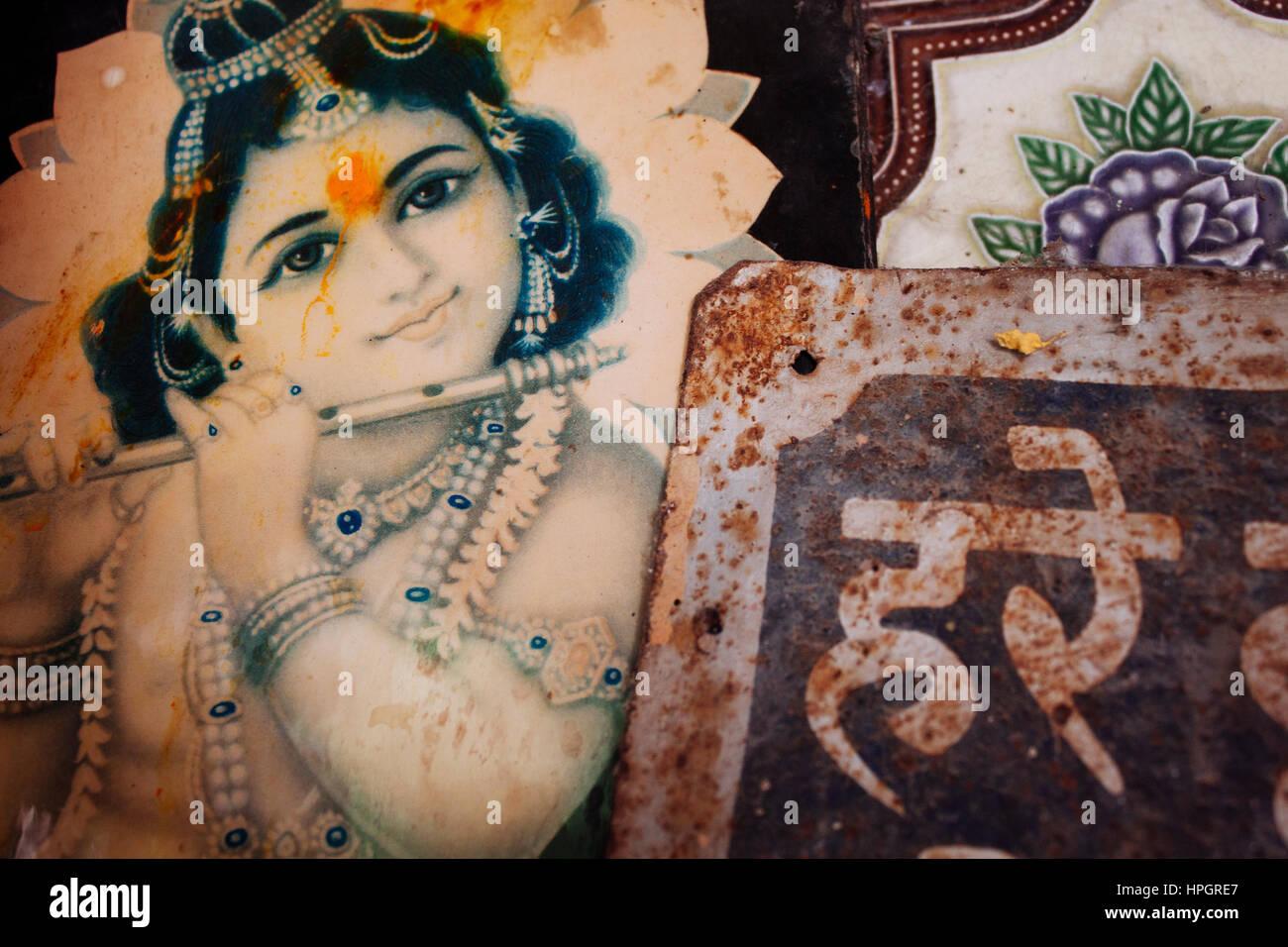 Krishna e il sanscrito tempio dell'immagine. Immagini Stock