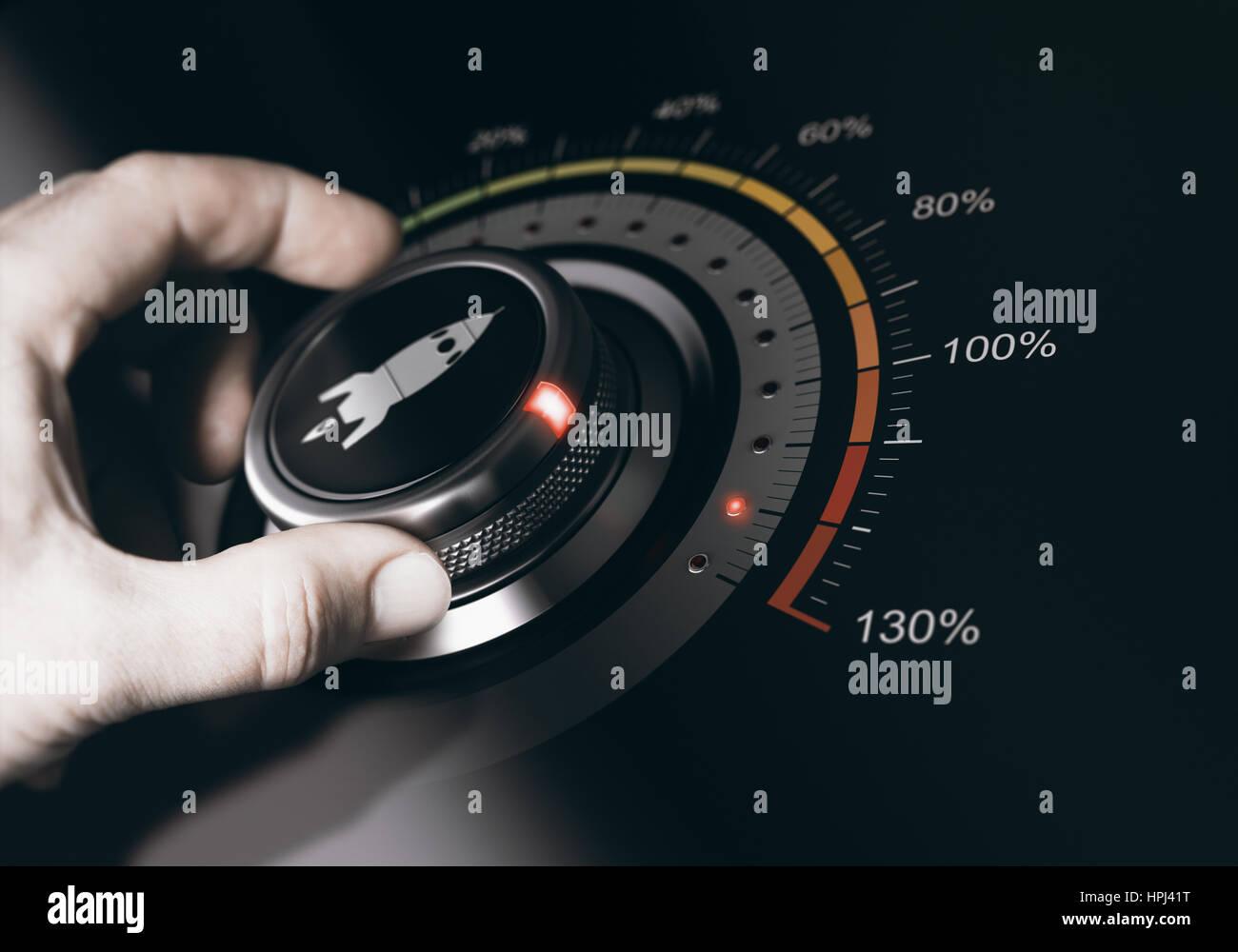 Girando a mano un pulsante a razzo con un icona per la massima accelerazione. Concetto di carriera accelerationComposite Immagini Stock