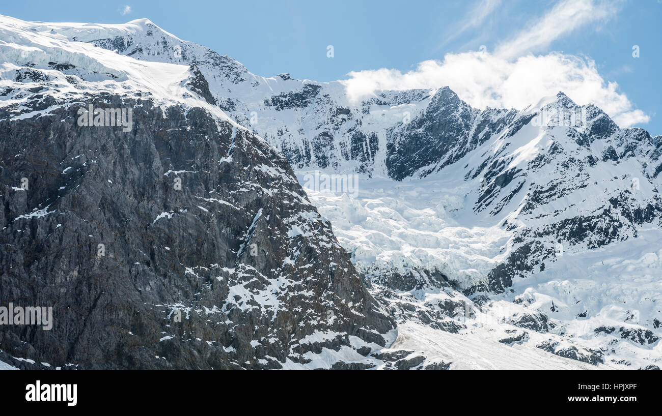 Rob Roy ghiacciaio, montare gli aspiranti National Park, Otago Southland, Nuova Zelanda Immagini Stock