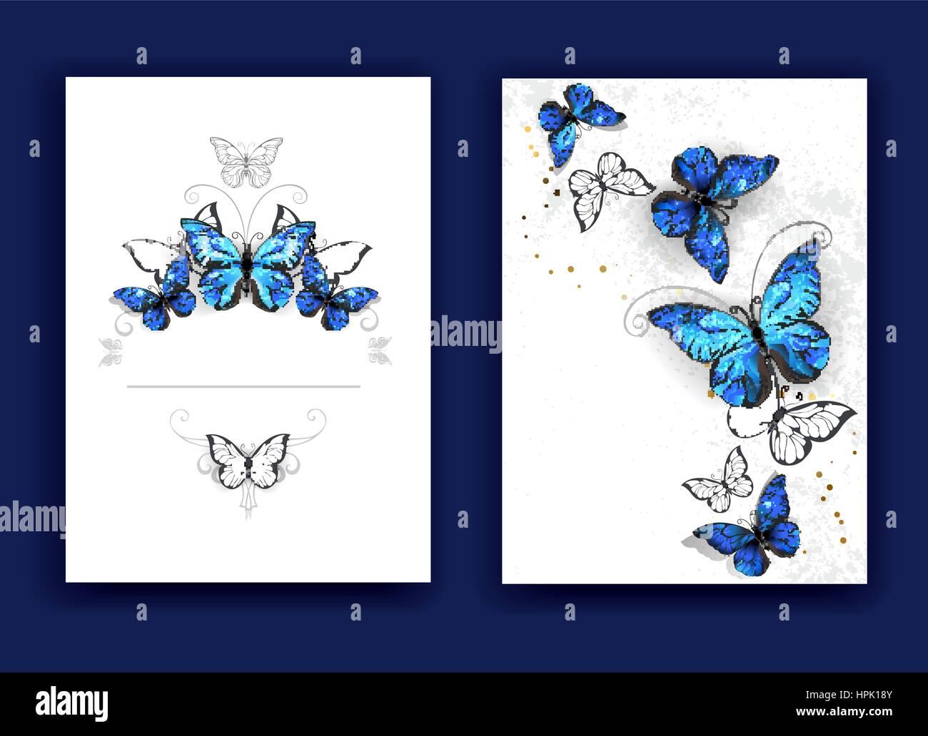 Brochure Di Design Con Farfalle Blu Morpho Su Uno Sfondo Bianco