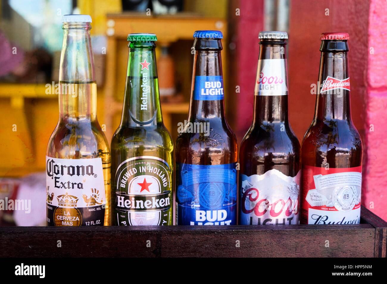 Pareti Con Bottiglie Di Vetro : Cinque diverse bottiglie di vetro di interni e stranieri la birra