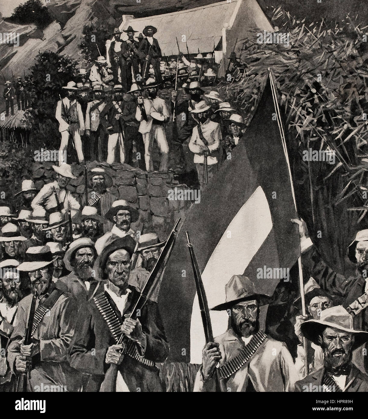 Boer Rifleman prendere posizione sul sito della decisiva battaglia di Majuba Hill Immagini Stock