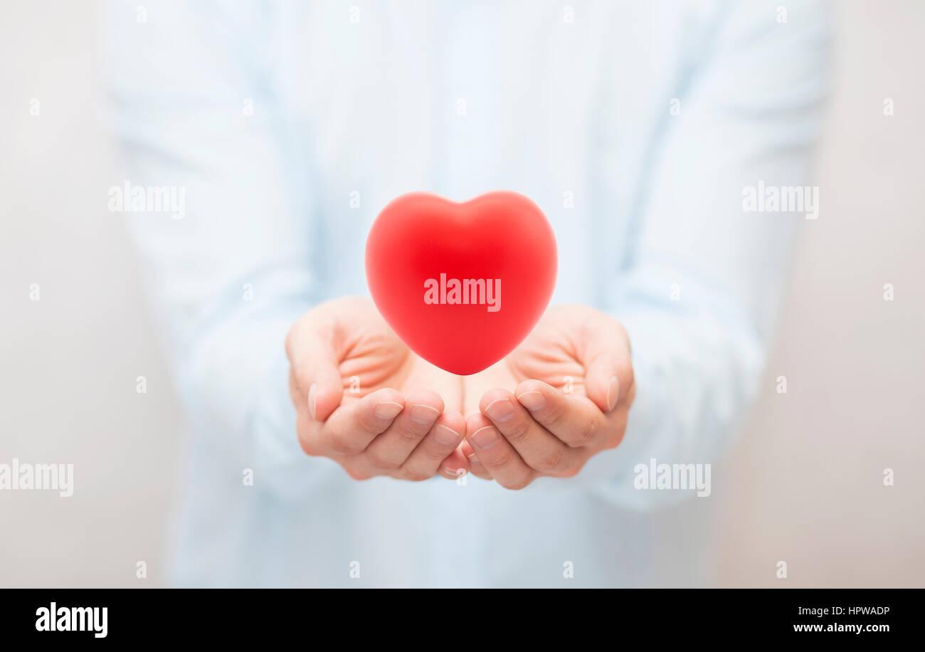 Assicurazione sanitaria o concetto di amore Immagini Stock