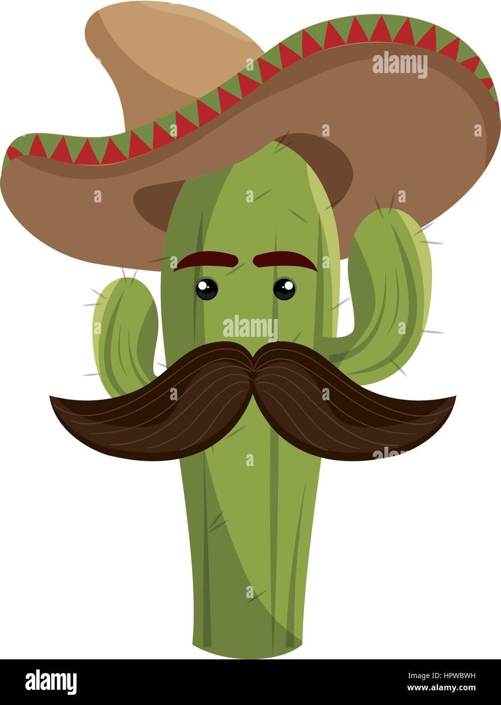 Sketch animati cactus con mexican hat e baffi illustrazione