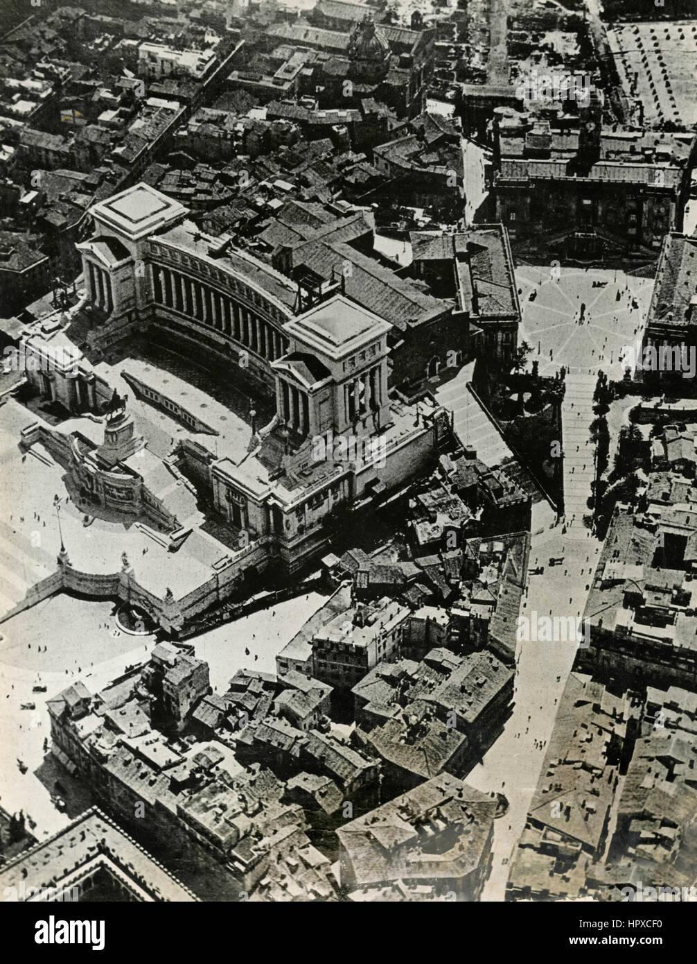Veduta aerea di Roma, Italia prima del 1931 Immagini Stock