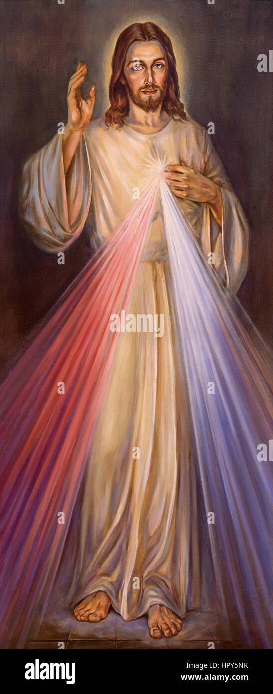 Berlino, Germania - Febbraio 15, 2017: la pittura tradizionale della Divina Misericordia di Gesù nella Chiesa Immagini Stock