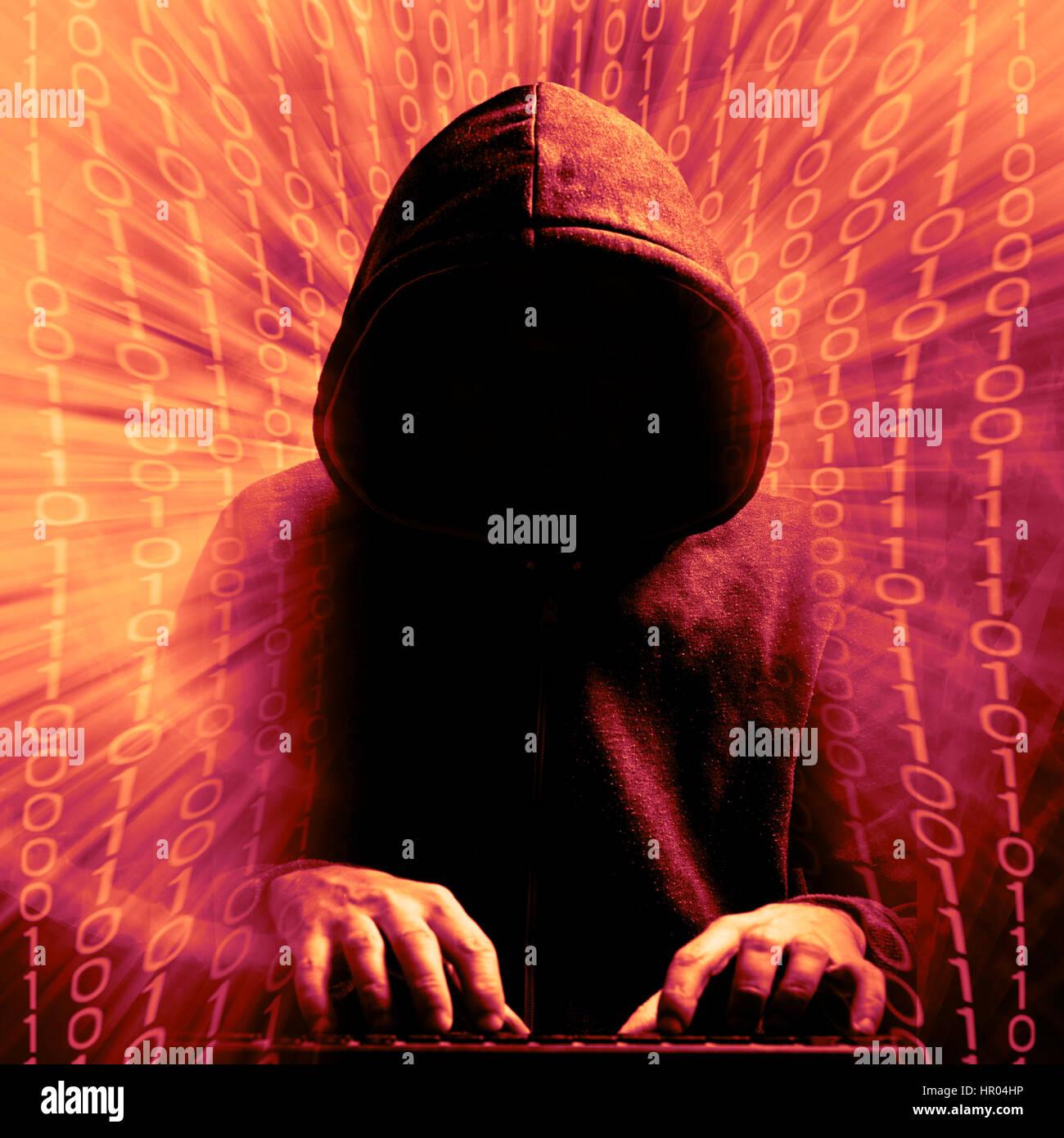 Hacker in azione, il concetto di criminalità informatica Immagini Stock
