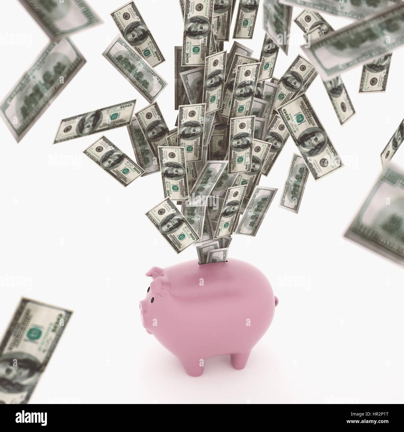La ricchezza economica concetto Rendering 3D Immagini Stock