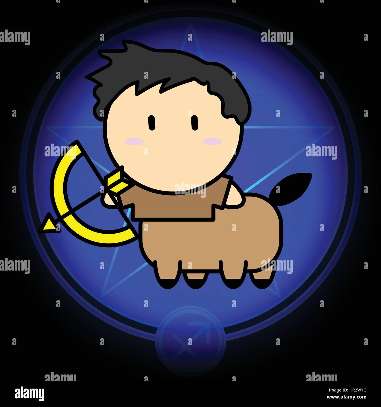 Cartoni animati zodiaco segno del sagittario icona vettore sul blu