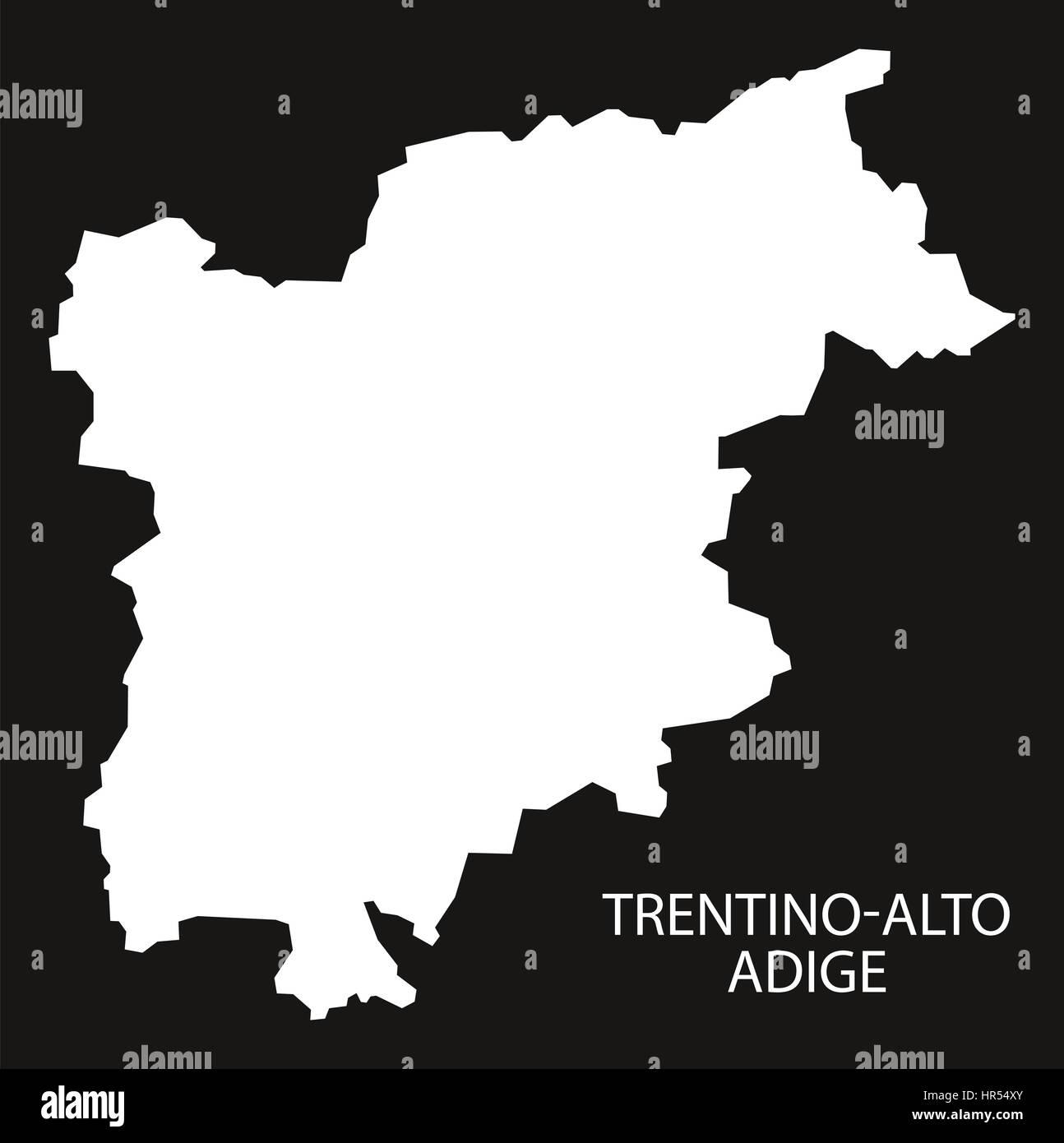 Cartina Italia Trentino Alto Adige.Il Trentino Alto Adige Italia Mappa Nero Silhouette Invertito Foto Stock Alamy