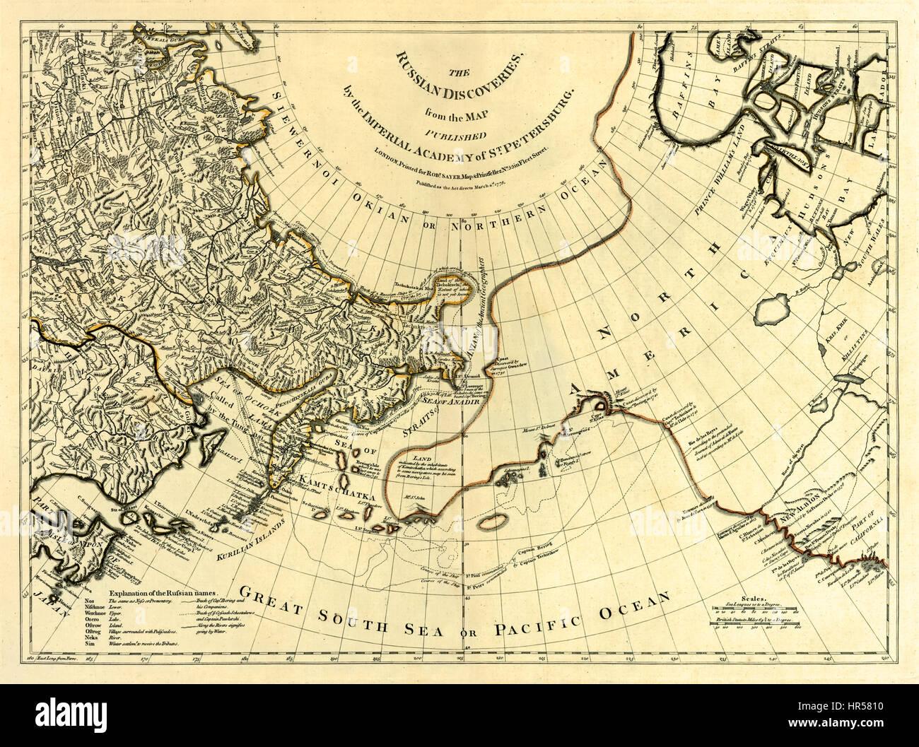 """""""I Russi scoperte dalla mappa pubblicato dall'Accademia Imperiale di San Pietroburgo."""" mostra l'esplorazione Immagini Stock"""