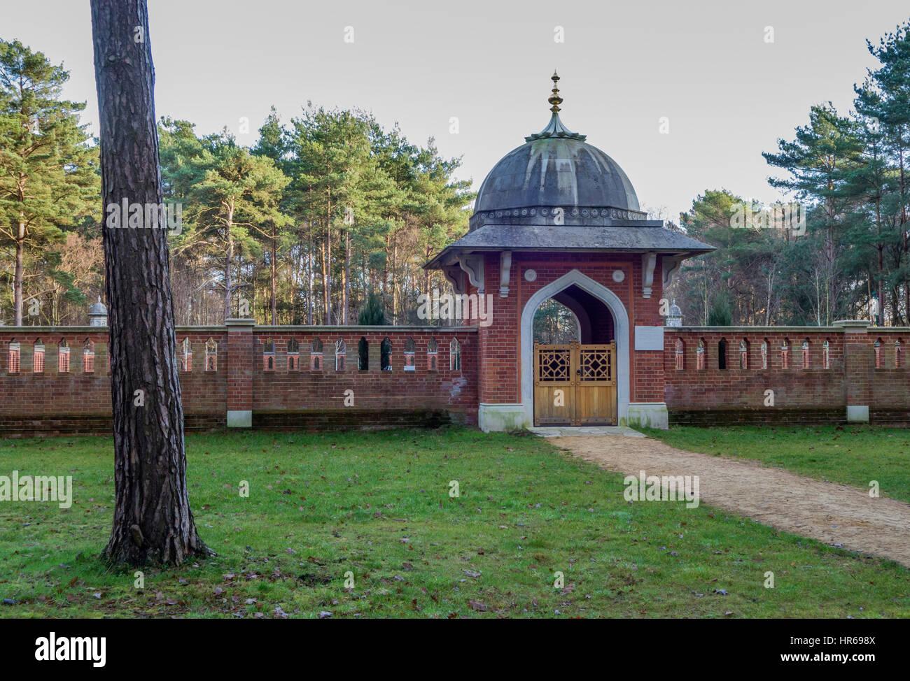 Musulmani il Cimitero di guerra - pace giardino, Horsell Common, Woking, Surrey, Regno Unito Immagini Stock