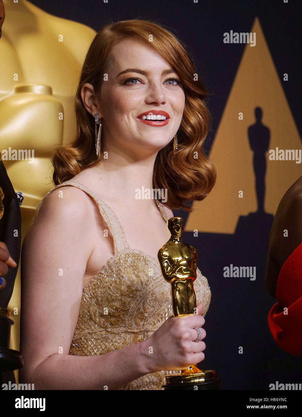 La pietra della Emma 304 89Academy Awards ( Oscar ), premere camera presso il Dolby Theatre di Los Angeles. Febbraio Immagini Stock