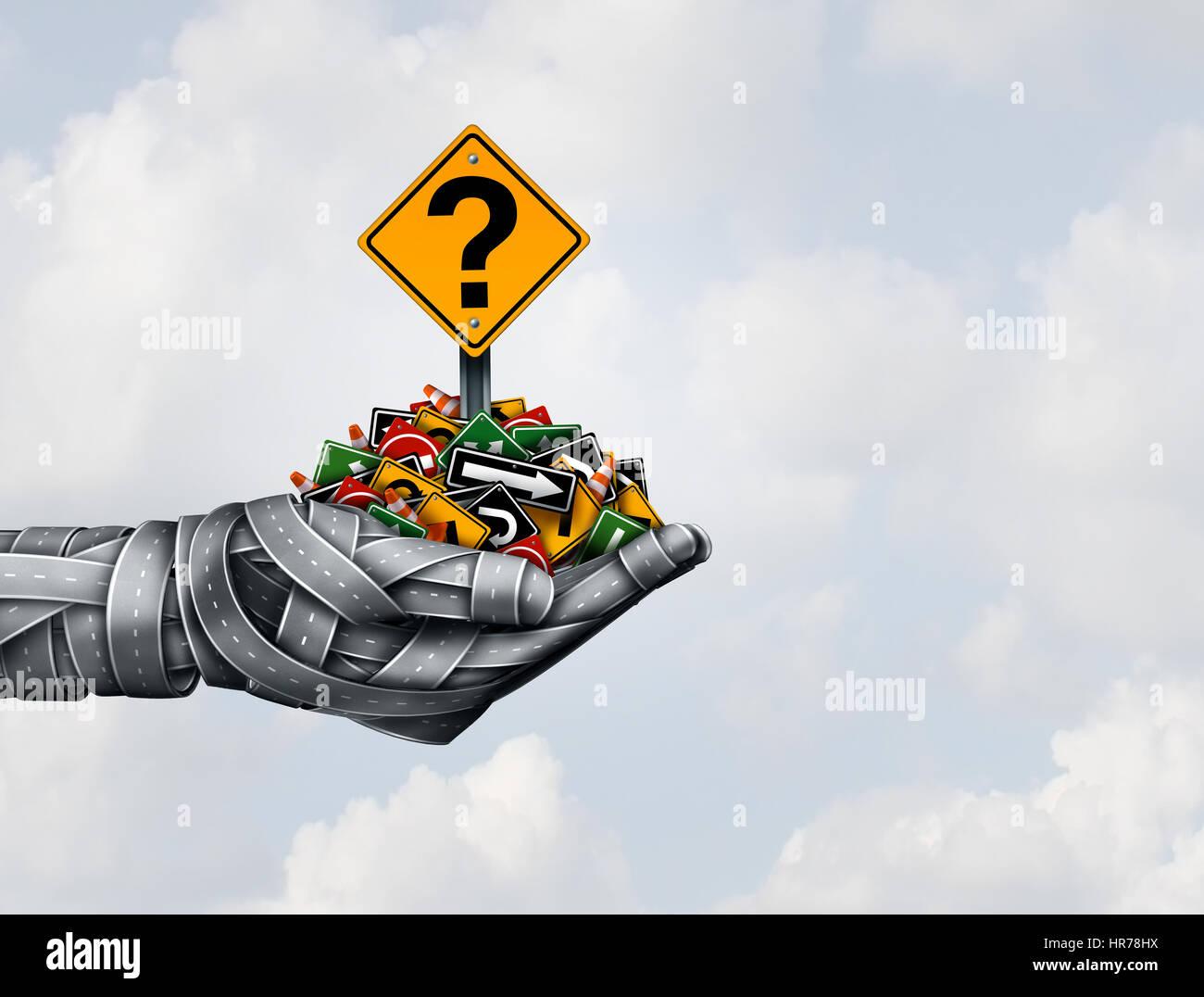Percorso di soluzione di strategia e direzione di idee nella leadership aziendale o il trasporto risposte concetto Immagini Stock