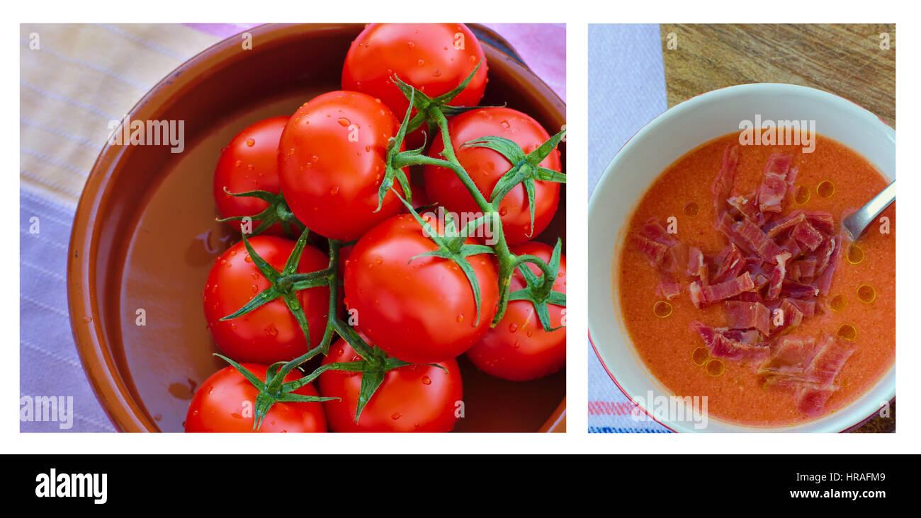 Salmorejo cordobes e il suo ingrediente principale- pomodori freschi.Salmorejo cordobes y su ingrediente principale. Immagini Stock