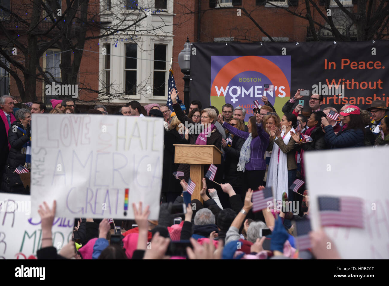Boston donna marzo per l'America Immagini Stock