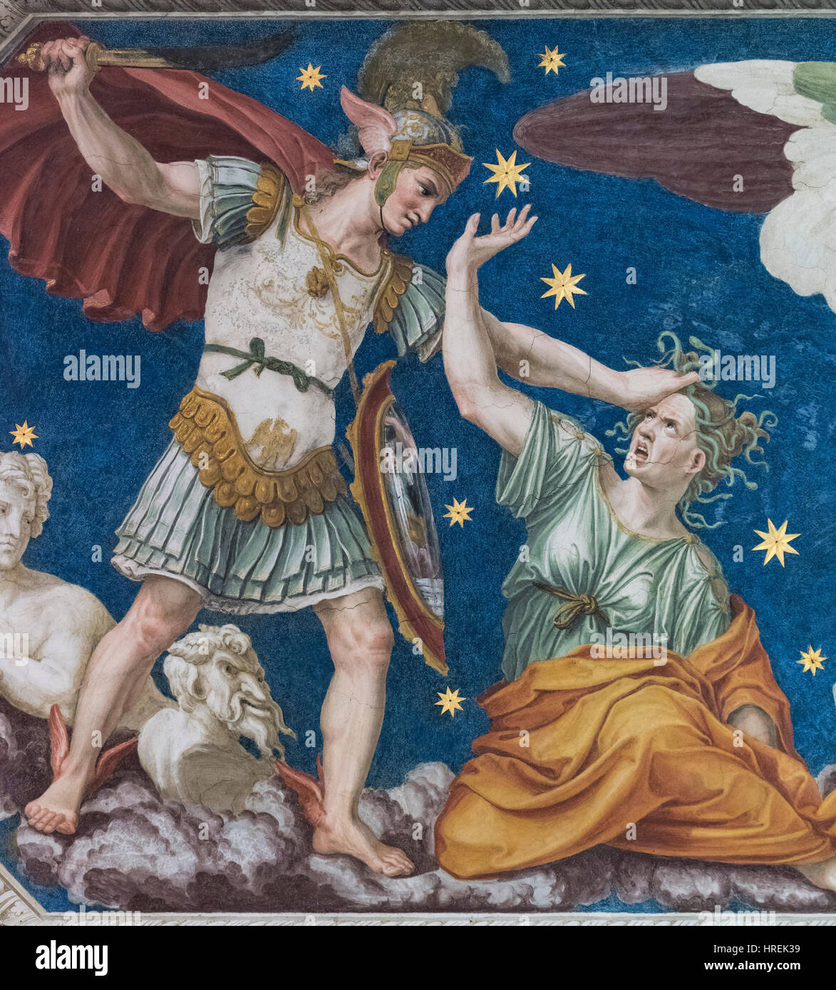 Roma. L'Italia. Villa Farnesina. Perseo costellazione, soffitto affrescato (dettaglio), 1511 da Baldassarre Immagini Stock