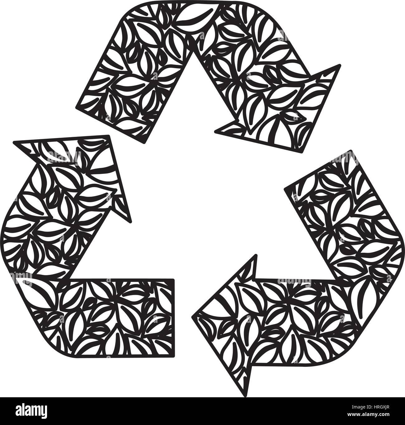 La figura simbolo del riutilizzo, ridurre e riciclare icona Immagini Stock