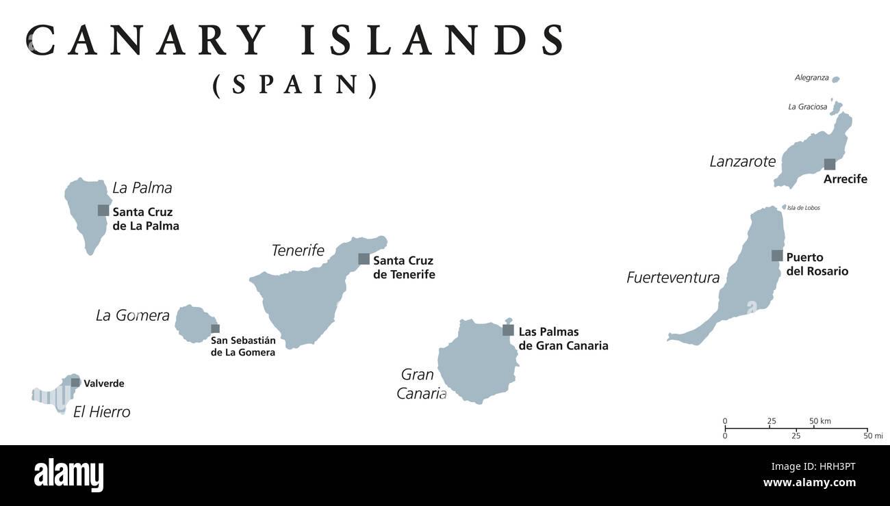 Spagna E Canarie Cartina.Isole Canarie Mappa Politico Con Capitelli Di Las Palmas E Santa Cruz Le Isole Canarie Sono Un Arcipelago E Delle Comunita Autonome Della Spagna Foto Stock Alamy