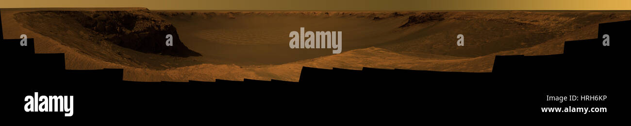 Cratere Victoria, Marte, immagini Pancam Immagini Stock