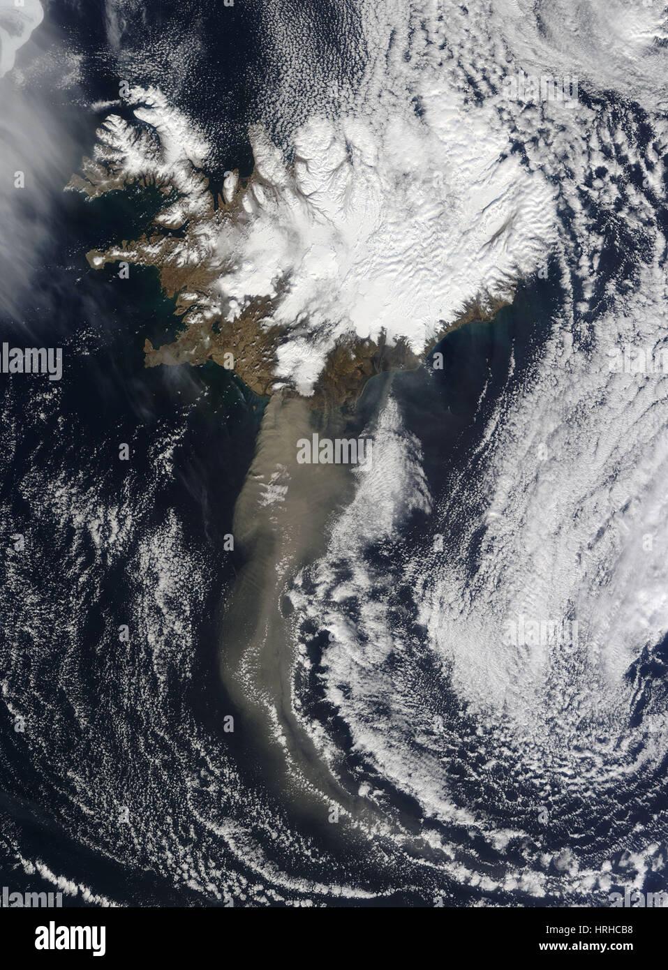 Eyjafjallaj̦kull eruzione, 19 aprile 2010 Immagini Stock