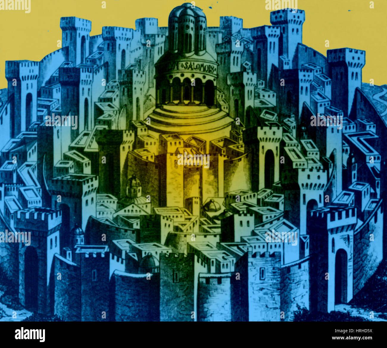 Xv secolo la xilografia di Gerusalemme Immagini Stock
