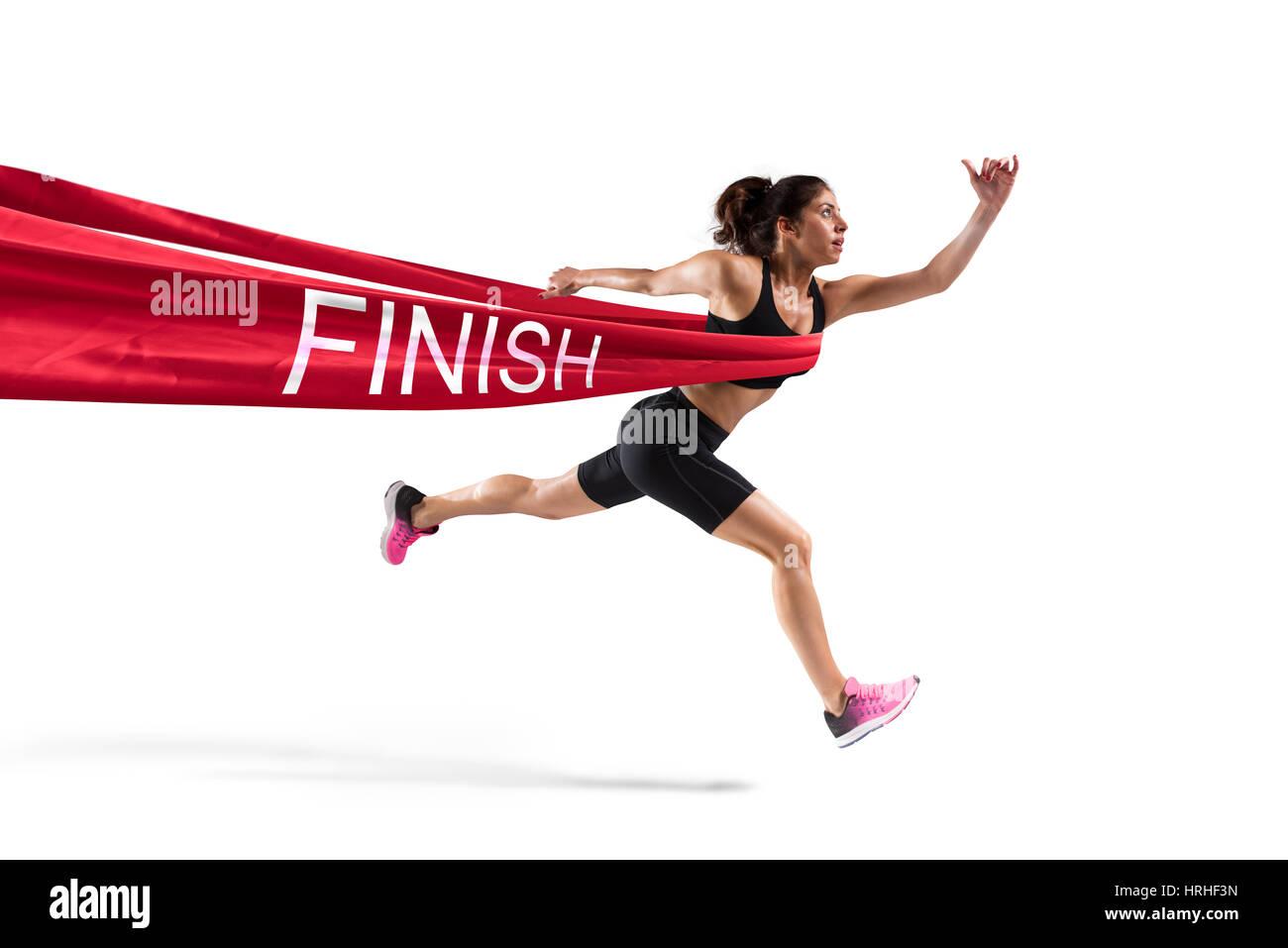 Vincitore runner donna sulla linea del traguardo Immagini Stock