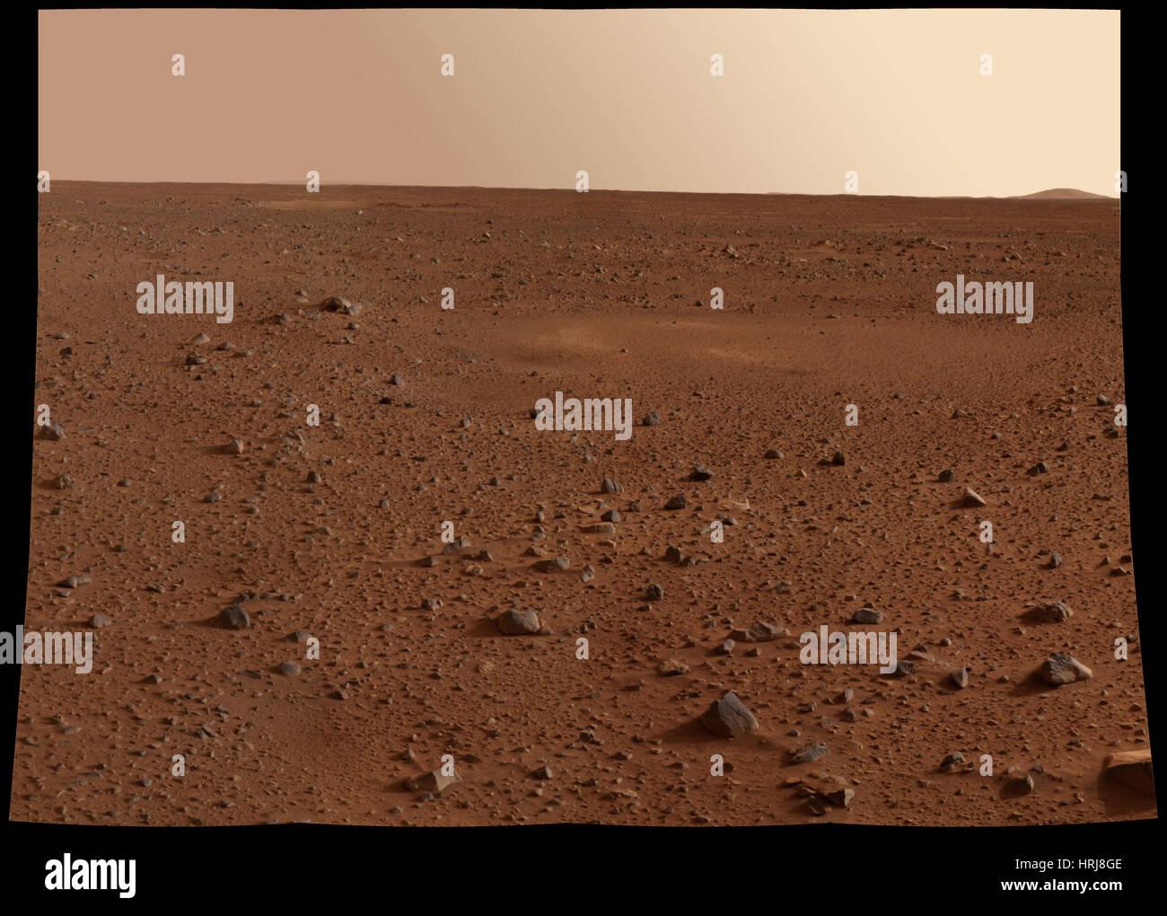 Mars Exploration Rover Spirit Missione, superficie rocciosa di Marte Immagini Stock