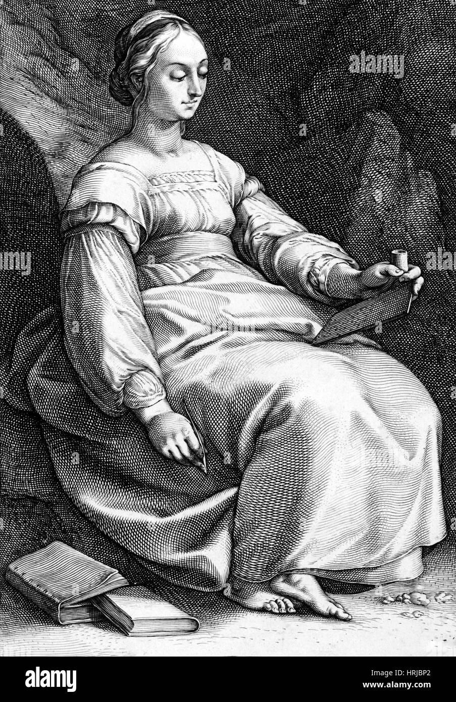 Clio, greca musa della Storia Immagini Stock