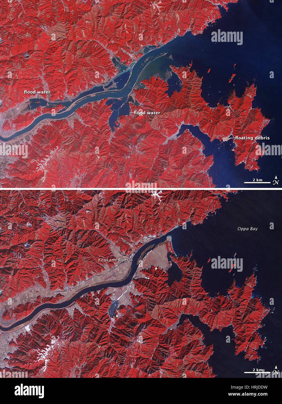 Fiume Kitakami inondazioni, immagini ASTER, 2011 Immagini Stock