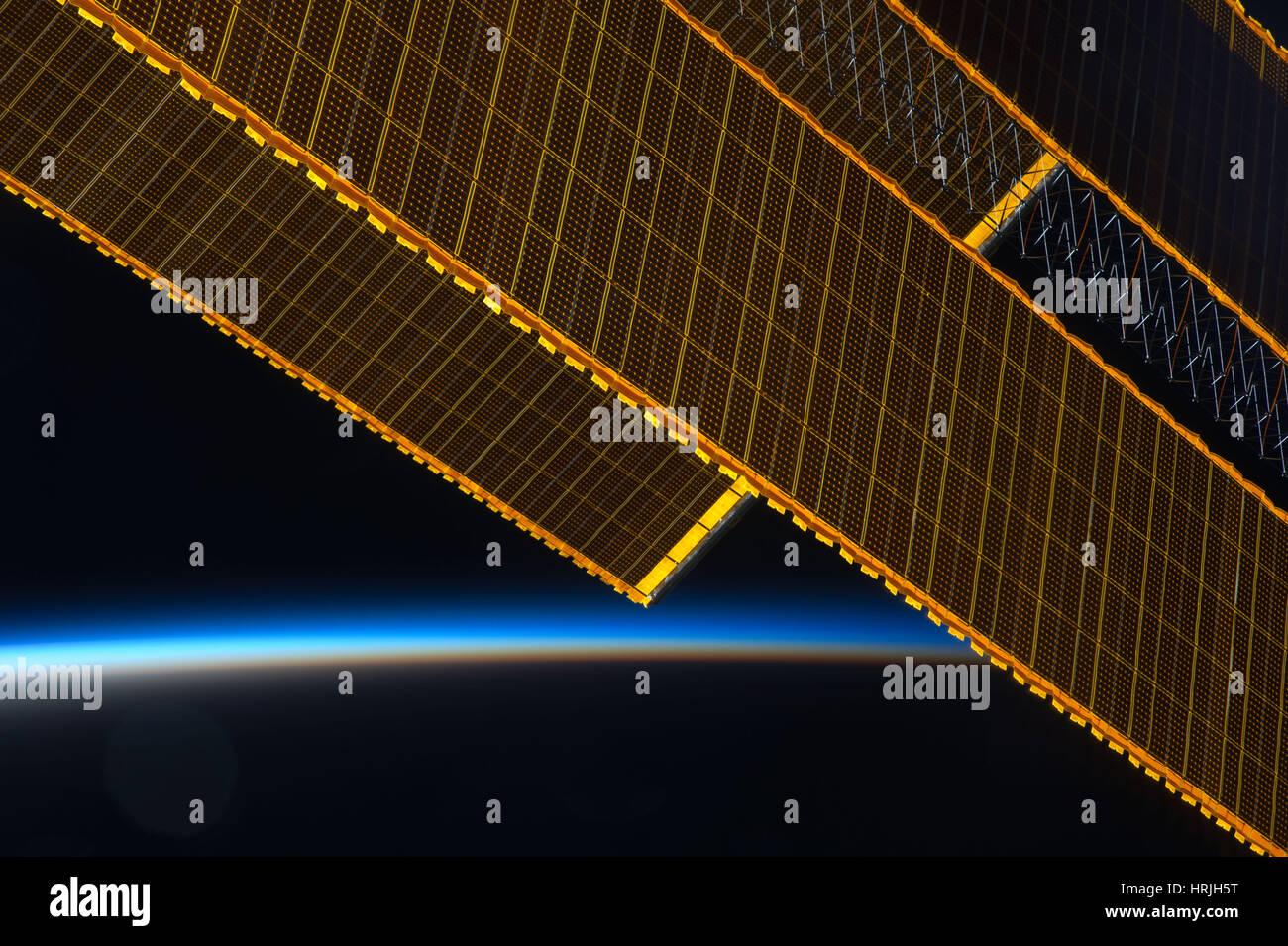 Expedition 40, Solar Array ali sulla ISS, 2014 Immagini Stock