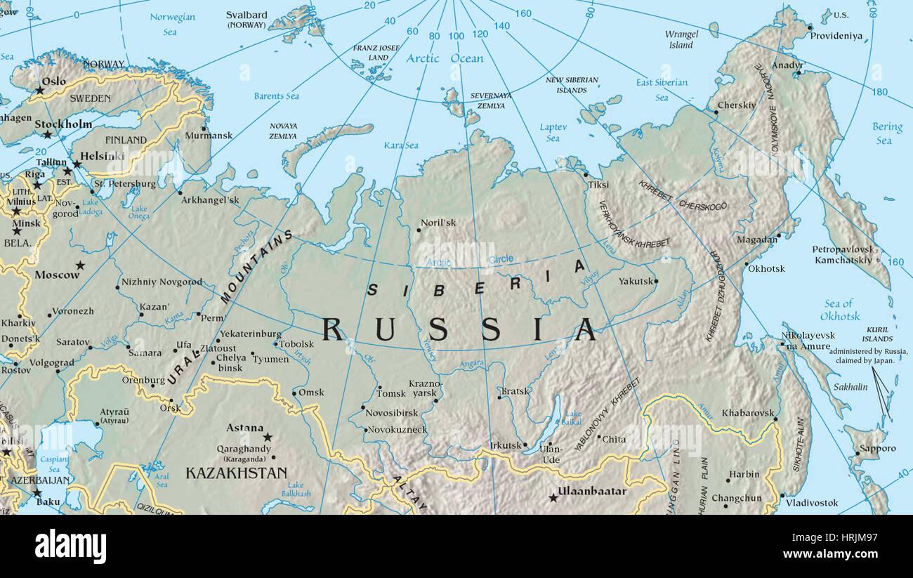 Cartina Russia Siberia.Mappa Della Siberia Foto Stock Alamy