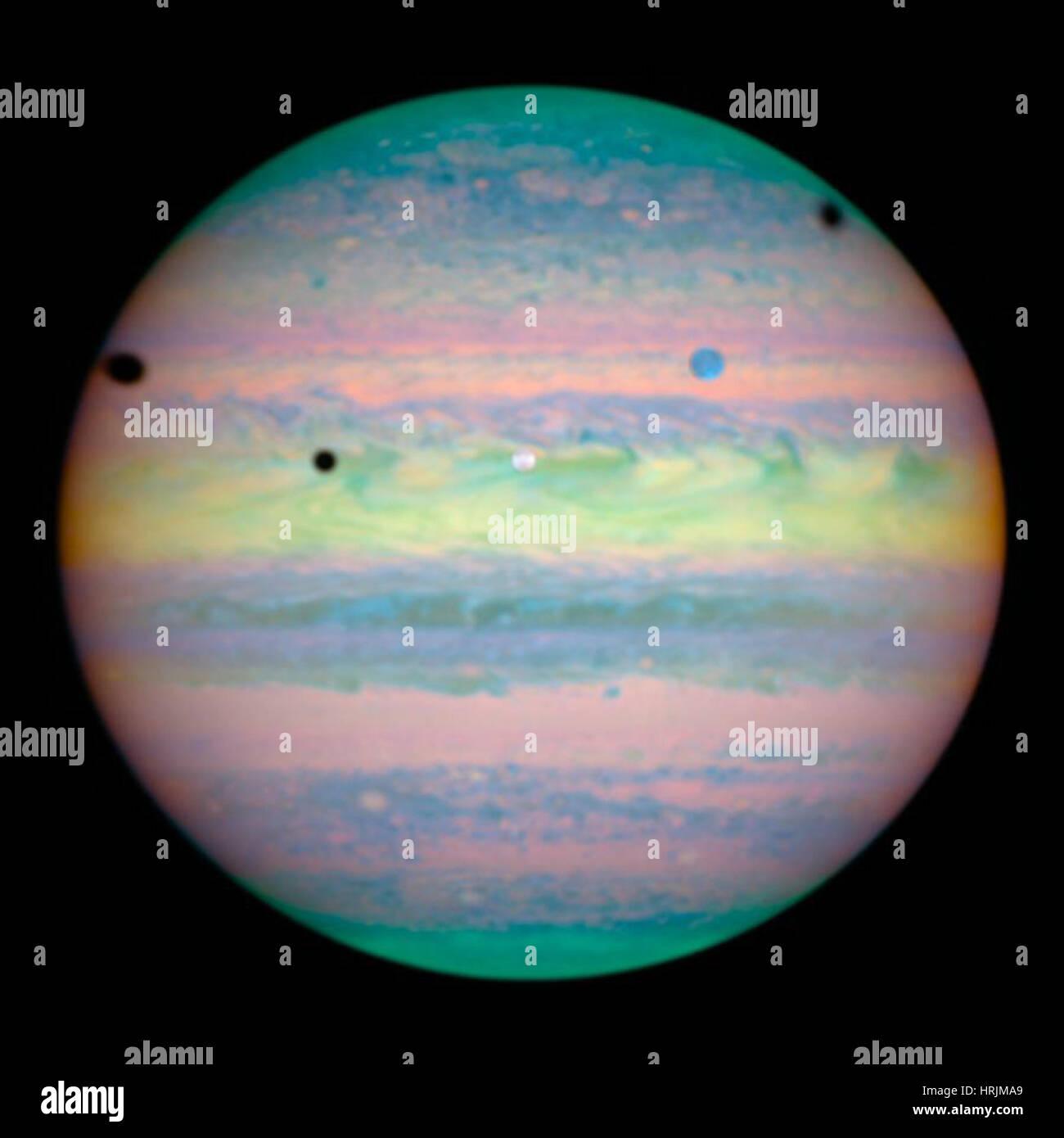 I satelliti di Giove in allineamento Rare Immagini Stock