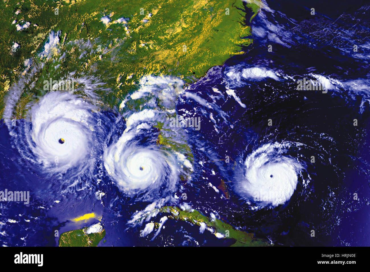 Tracking uragano Andrew, va immagini, 1992 Immagini Stock