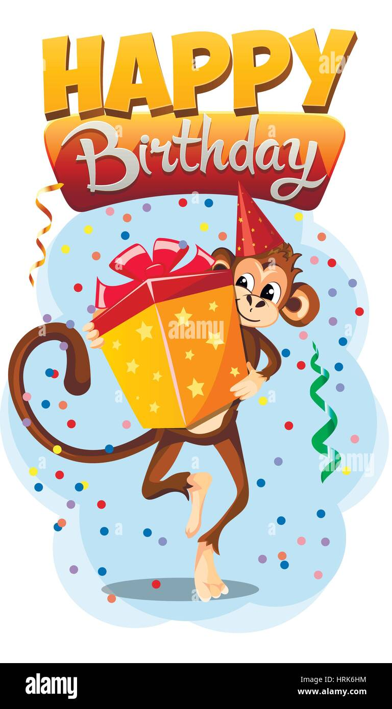 Biglietto Di Auguri Di Buon Compleanno Con Regalo Di Scimmia