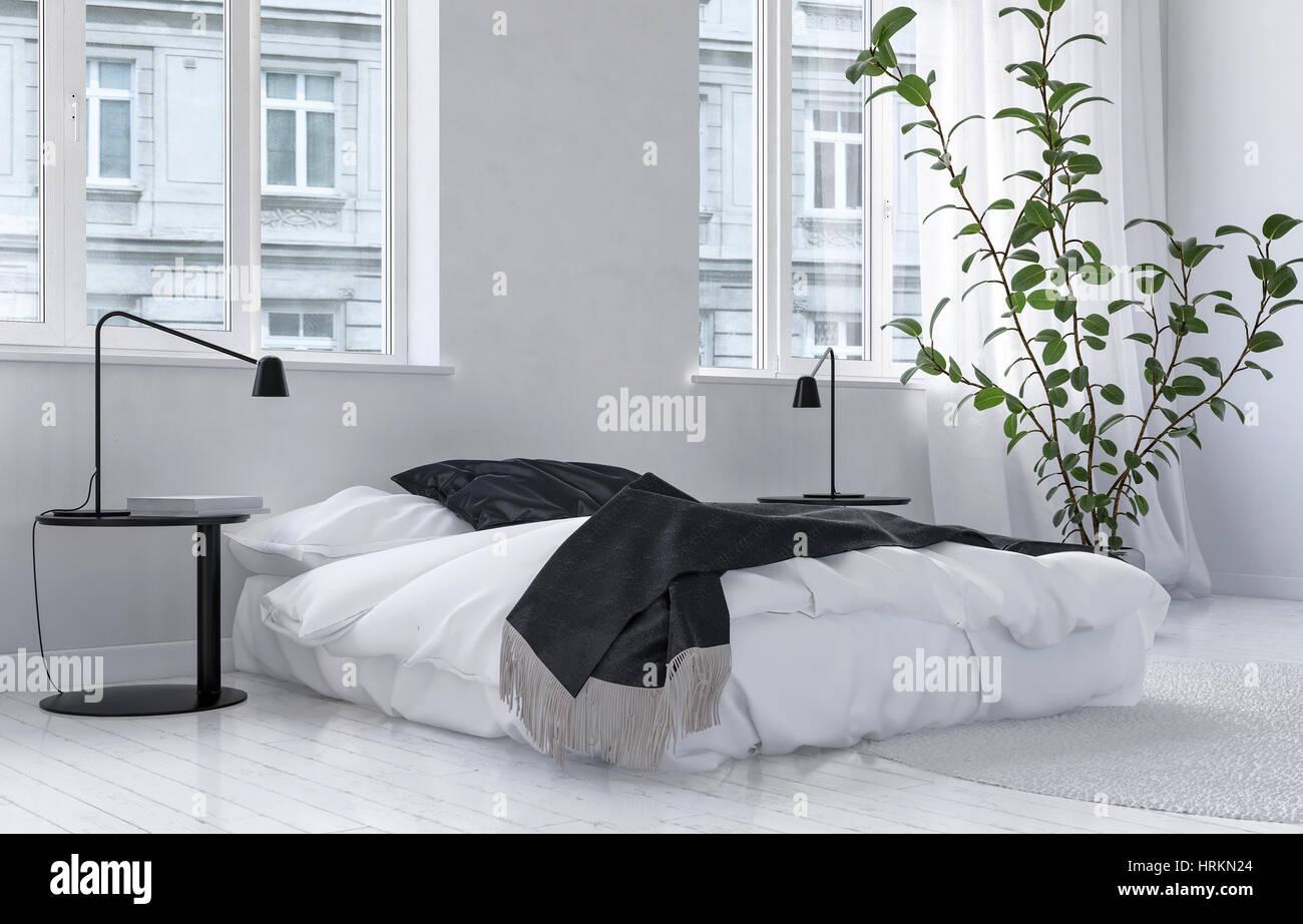 Pianta Camera Da Letto Matrimoniale : Molto luminosa camera da letto bianco interno in un urbano