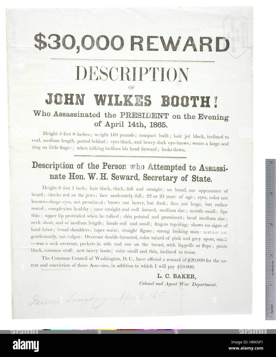 Premiare Poster per Giovanni documento Wilkes Booth Immagini Stock