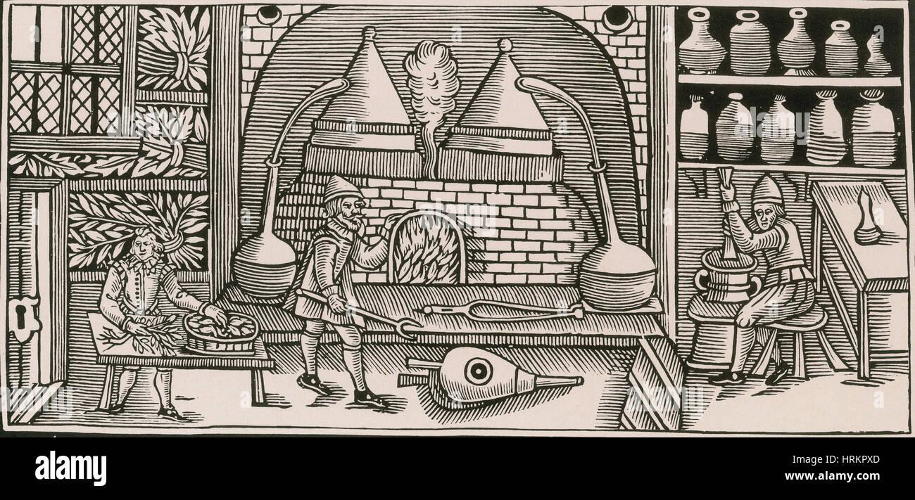 Distillazione, Medioevo Immagini Stock