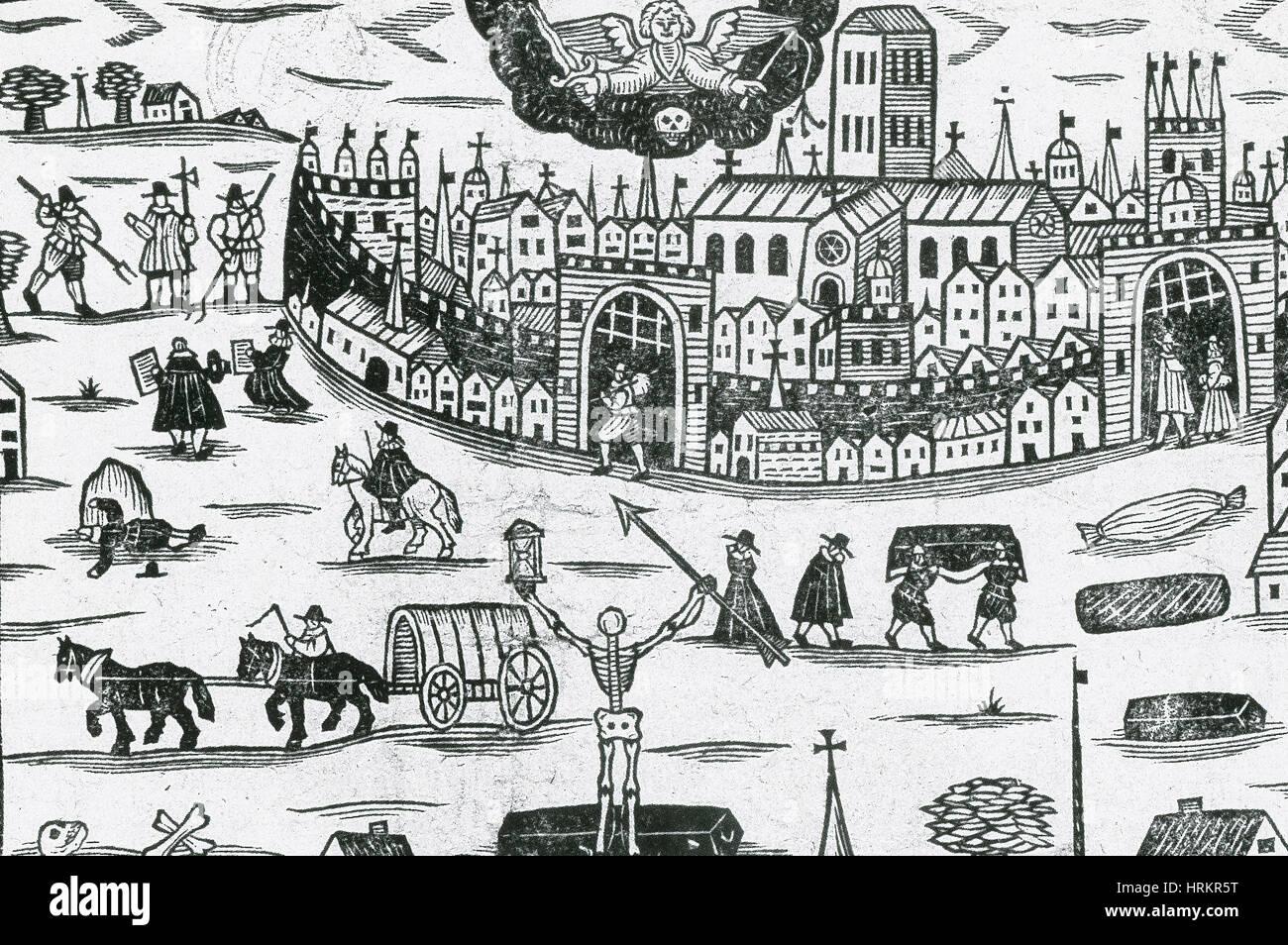 Morte Nera, medievale peste bubbonica Immagini Stock