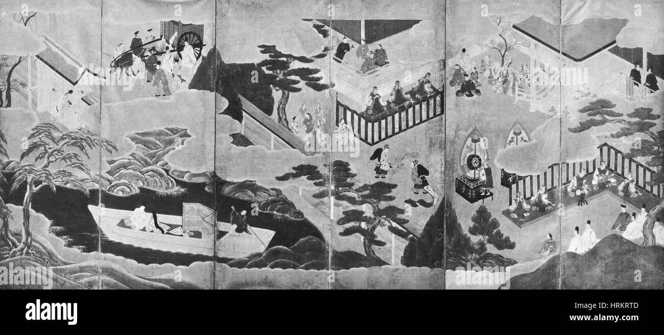 Scene dal racconto di Genji Immagini Stock