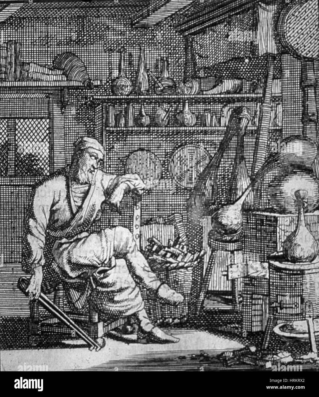 L'Alchimista di Goudmaker, XVIII secolo Immagini Stock