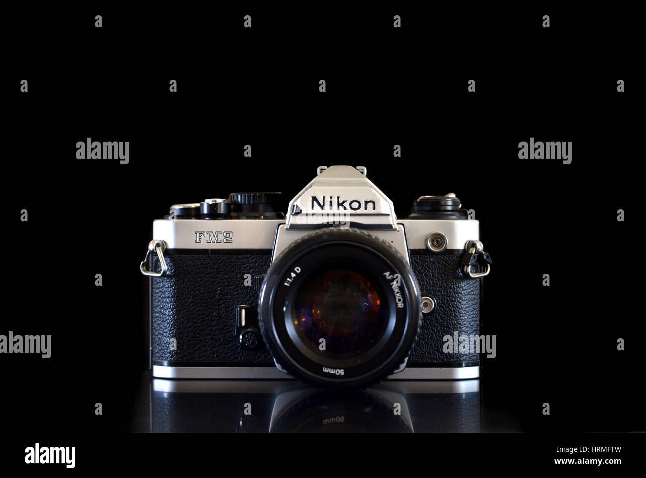 Vintage film Nikon fotocamera FM2 Immagini Stock