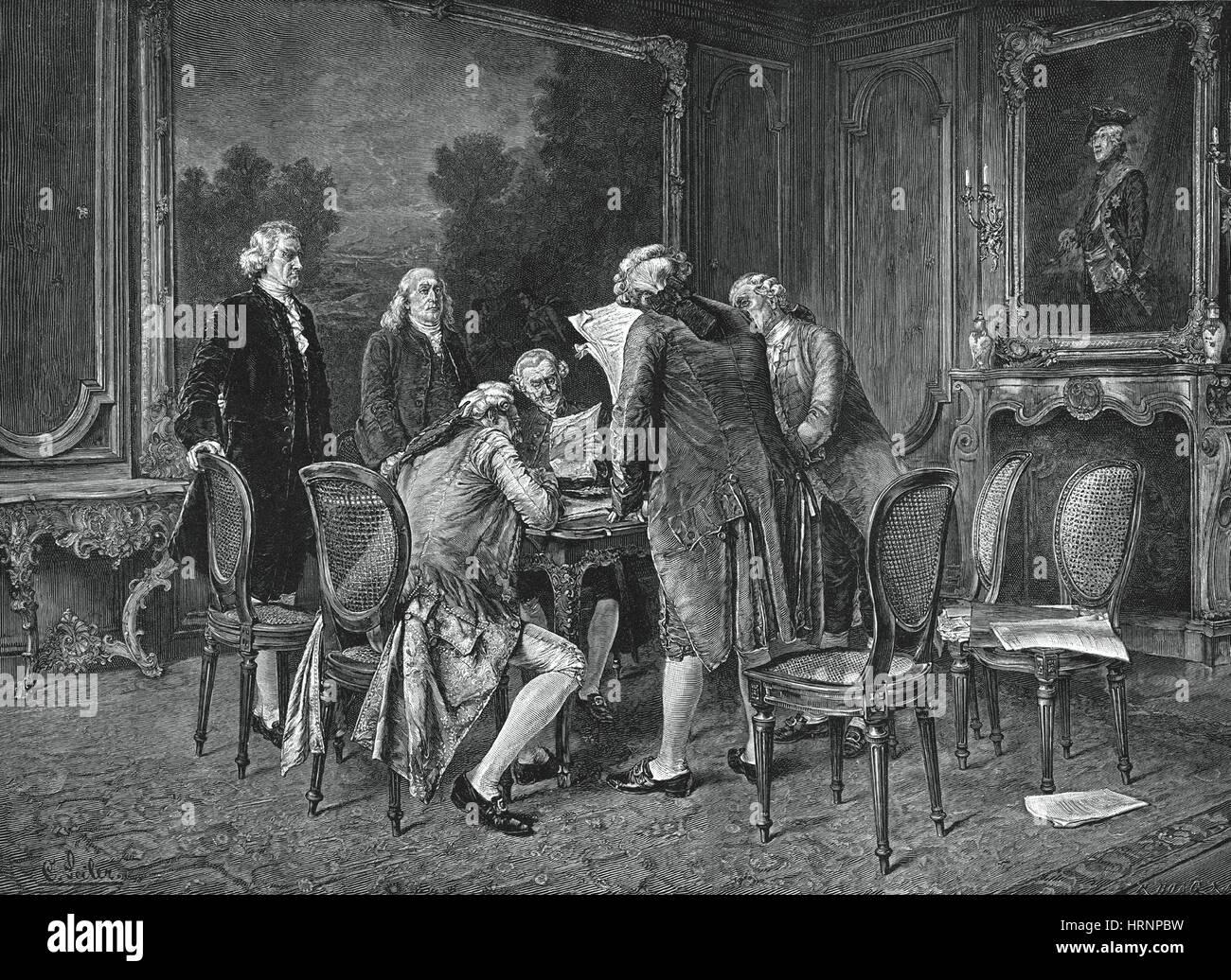 La firma del Trattato di Pace, 1782 Immagini Stock
